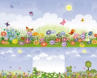 Link tograss green butterfly fun vector scenery Spring