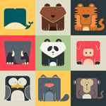 Link toSquare animal icons vector