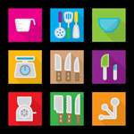 Link toSquare kitchen icons vector