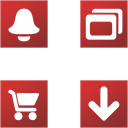 Link toSquare red buttons icons