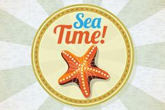 Link toStarfish poster retro vector