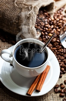 Link toSteaming hot black coffee coffee bean photos
