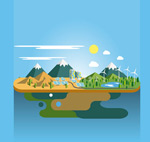 Stereo-landscape ecology vector