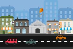 Street building from cartoon vector