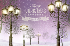 Link toStreet lights in the snow on christmas poster vector