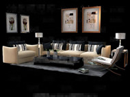 Link toStriped pillow yellow sofa combination 3d model