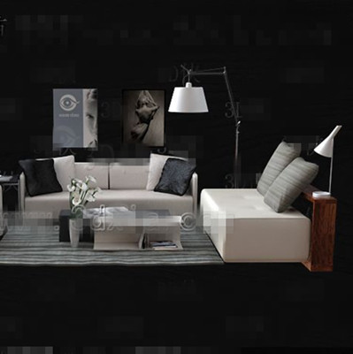 Link toStylish gray fabric sofa combination 3d model