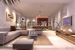 Stylish living room models 3d model