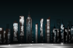 Link toStylish urban complex in silhouette vector