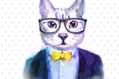 Link toStylish water painted cat head vector