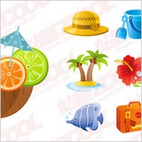 Link toSubject exquisite seaside tourist icon vector material