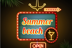 Link toSummer beach bar neon vector graphics