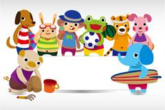 Link toSummer decorative animals board vector