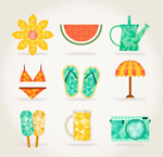 Summer element icons vector