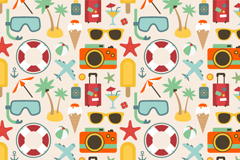 Summer elements seamless vector background