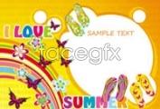 Link toSummer flip-flops poster background vector