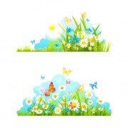 Link toSummer flower with butterflies nature elements vector 01 free