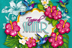 Summer hibiscus flower-decorated label background vector