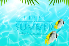 Summer tropical fish background vector