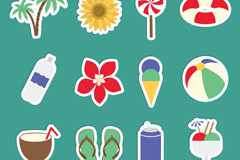 Link toSummer vacation 12 sticker icons vector