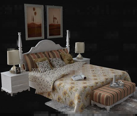 Link toSunflower floral white double bed 3d model