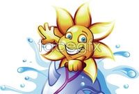 Link toSunflower surfing cartoon vector