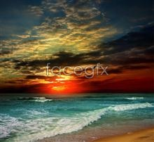 Link toSunset beach waves picture