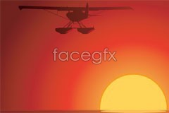 Link tovector aircraft the with landscape Sunset