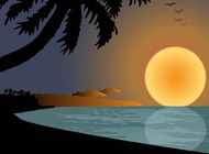 Link toSunset on beach graphics vector free