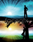 Link toSunset people silhouette vector
