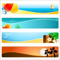 Sunshine beach banner banner vector