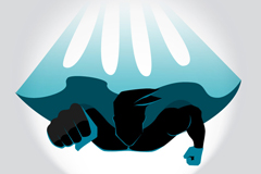 Link toSuperman flying front view vector