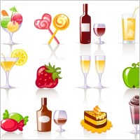 Link toSweet drinks and fruit vector icons