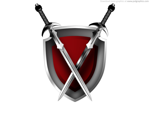 Link toSwords and shield icon psd