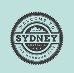 Link toSydney travel tag vector