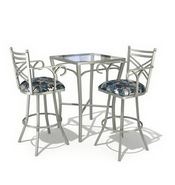 Link toTall casual dining tables and chairs combination 3d model