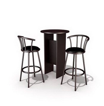 Link toTall wooden dining tables and chairs combination 3d model