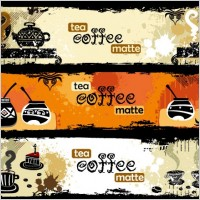 Link toTea and coffee theme banner vector
