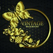 Link toTear paper and vintage golden background vector 02