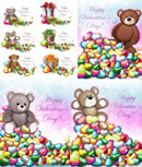 Teddy bear with heart-shaped leaves vector