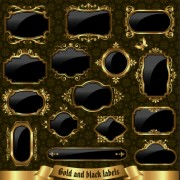 Link toTextured black and golden labels vector graphics free