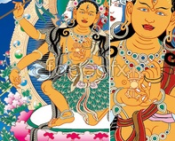 Link toThangka clothing vector images in dunhuang religion