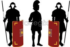 Link tovector silhouette shield a holding and armor wearing samurai ancient The