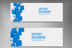 The blue block out decorative banner vector