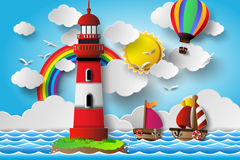 Link toThe blue sea and lighthouse vector