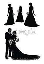 Link toThe bride and groom silhouette vector