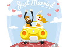 Link toThe bride and groom sitting wedding car vector