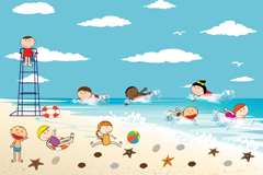 Link toThe children playing by the ocean vector