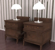 The dark wood pairs of bedside cabinets 3d model