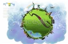 Link toThe earth korea creative posters psd source file